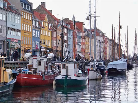 Image: Copenhagen harbor Nyhavn where Hans Christian Anderson once lived.